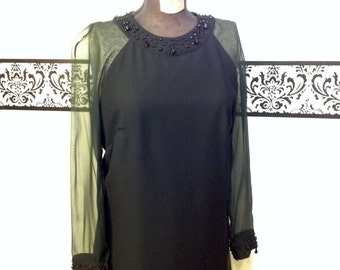 1960's Little Black Dress with Sheer Sleeves and Studded Collar by L'aiglon, Size Medium 6 / 8 , Vintage 1950's Pin Up / Bombshell LBD