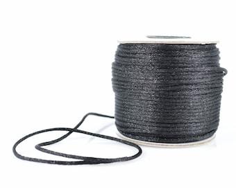 1mm BLACK SATIN STRING - Black Cord (1mm diameter) sold by 5m length