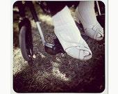 Photo: Gran's White Shoes in Sunlight, 5x5 x 7x7 image on 8x10 paper, original art print, under 50