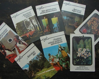 Soviet pocket calendars Set of 8 cards with Soviet Vintage ephemera USSR era 80s
