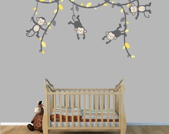 Monkey Wall Decals, Monkeys on Vines, Monkey Wall Stickers for Nursery or Girls Room, (GrayYellow), (V91_MB91_MF89_86_55_76), MVD