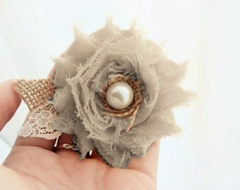Gray Burlap Wedding Hair Flower, Wedding Hair Accessory Clip for Bride, Bridesmaids or Flower Girl, Grey Bridesmaids Dress Wedding Hairpiece
