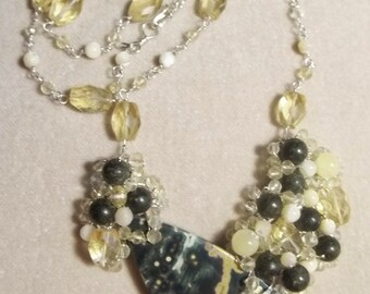 Ocean Jasper, Citrine, Serpentine, Aragonite and Mother of Pearl Sterling Necklace - Wire Wrapped, OOAK