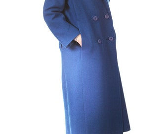 Vtg 80s Long Cobalt Blue Double-breasted Wool Coat, Great Condition, Size Small/Medium