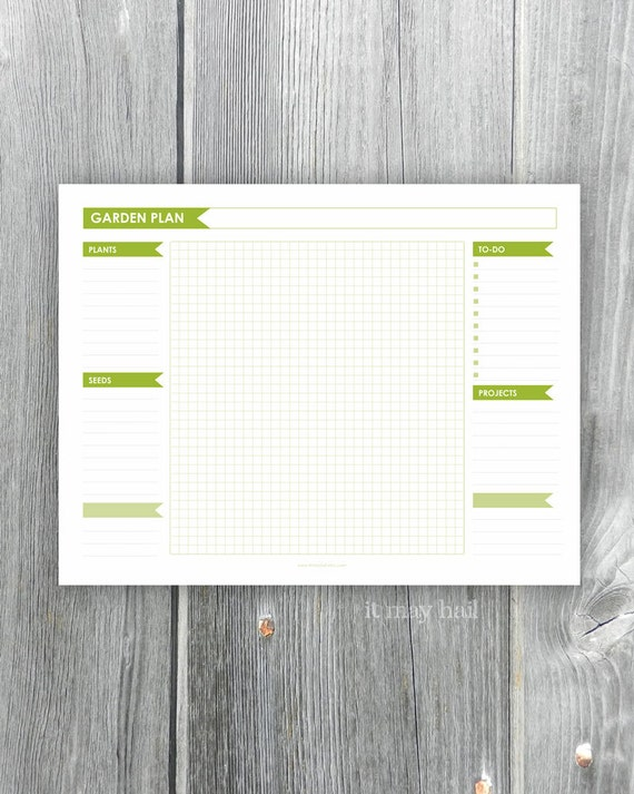 Garden planner page with grid and lists instant download for Garden planner 3
