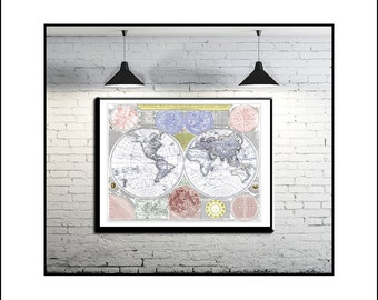 WORLD MAP, Map of the World, Vintage Maps, World Political Map, World Map Poster, Large World Map, 1787 World Map