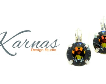 CRYSTAL VOLCANO 47ss or 10mm Crystal Chaton Leverback Earrings Swarovski Elements *Pick Your Finish *Karnas Design Studio *Free Shipping