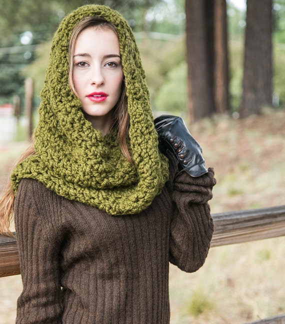 Chunky Infinity Scarf // Hooded Infinity Cowl // Chunky Knit Scarf // THE EMMA shown in Cilantro