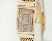 14K Gold Hamilton Buckle Strap Wrist Watch with Diamond Dial