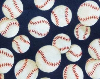 Baseballs on blue dog bandana slides over the collar