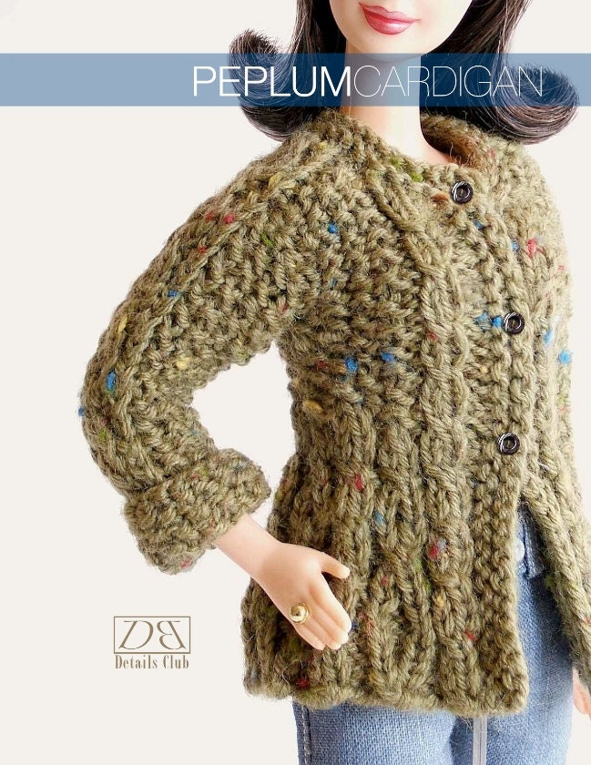 Chunky Infinity Scarf Knit Pattern : Knitting pattern for 11 1/2 doll Barbie: Peplum