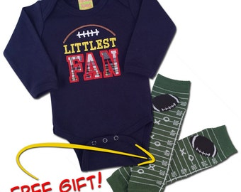 FREE with Purchase - Boy's 'Littlest Fan' Football Bodysuit with Football Leggings