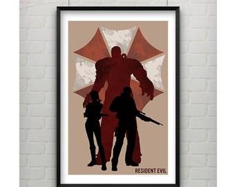 Resident Evil Poster, 11x17 Video Game Art, Resident Evil Video Game Art Silhouette Art, Minimalist Videogame Print 11x17