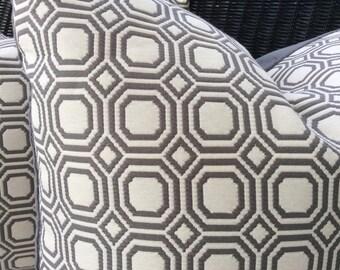 Gray and White Geometric Woven Pillow Cover, Gray Velvet Backing