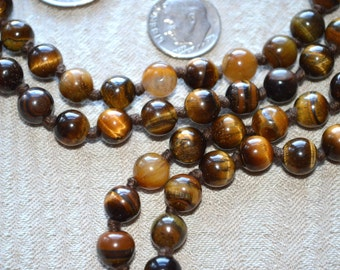 Energized 10 mm Brown Tiger Eye Hand Knotted Mantra Mala Beads Necklace - Blessed & Energized Healing Stones for Good Luck, Strength,