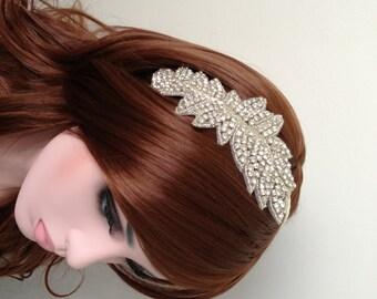 Rhinestone Headband-Bride Hair Piece-Bridal Headband-Bride Head Piece-Wedding Hair Piece-Ivory Leafy Rhinestone Bridal Headband