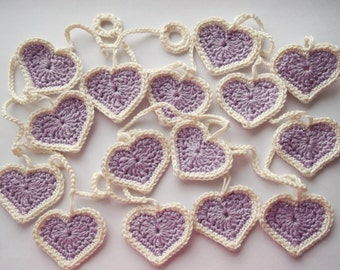 crochet heart garland, lilac heart garland, garland, decoration, heart decororation, nursery decoration, crochet hearts, bunting.