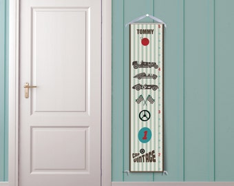 Vintage Racing Cars & Racing Stripes - Personalized Growth Chart