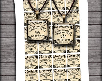 Ouija Board Square Images 1 inch and 1.5 inch Printables for Jewelry Making - Digital Collage Sheet - Instant Download