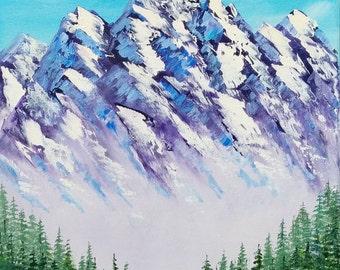 """Original oil painting MOUNTAIN LANDSCAPE 11 x 14"""""""