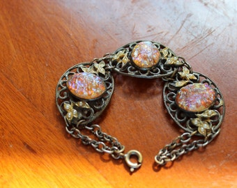 Vintage Brass Filigree Bracelet with Faux Opals and Faux Pearls