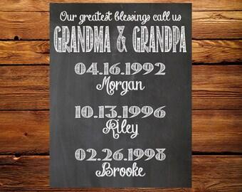 Grandma and Grandpa Chalkboard Sign - Digital Chalkboard - Printable Chalkboard - Our greatest blessings call us Grandma and Grandpa Sign