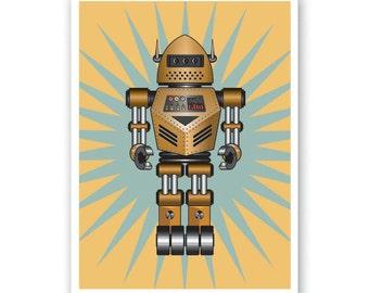 Robot Print - Personalized name poster art print