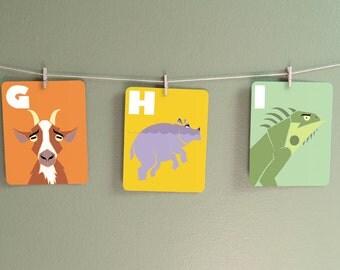 Alphabet flash cards, 4 x 5, alphabet wall cards, alphabet art, baby alphabet, kids modern wall art, animal alphabet, nursery wall art