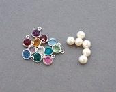 Add a birthstone OR Freshwater pearl - swarovski crystal 6mm, personalized, monogram