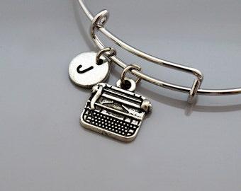 Typewriter charm bangle, Typewriter bracelet, Type writer charm, Vintage typewriter bracelet, Expandable bangle, Monogram, Initial bracelet