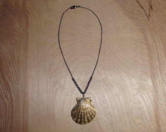 Real Scallop Shell Necklace With Faux Gold Leaf Finish and Crystals