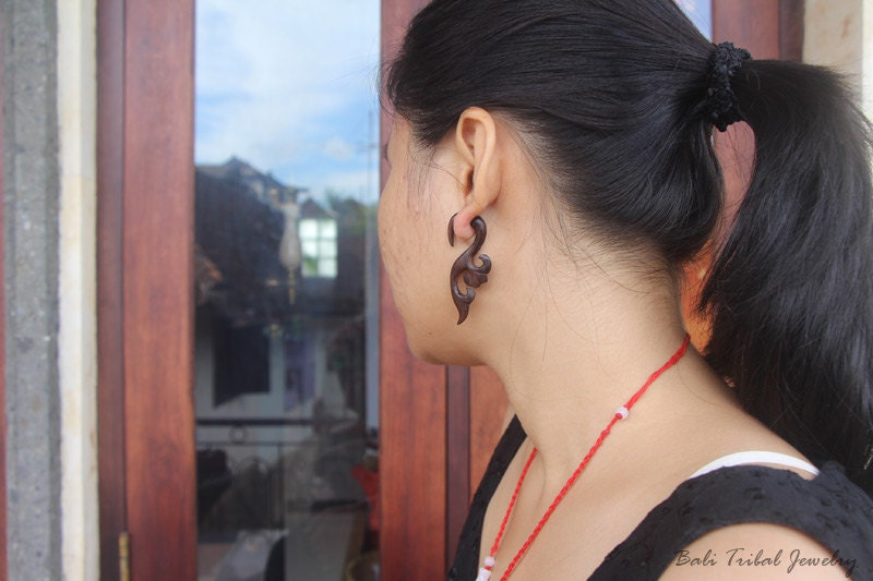 Bali Tribal Jewelry Tribal Earring Fake Gauge Wood Sono Lugra
