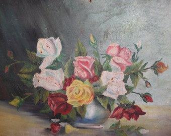 Vintage oil painting still life with flowers