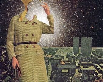 """Collage Print  """"Space Face"""""""