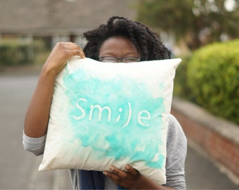 "Smile spray dyed cushion 16"" x 16"" with cushion inner"