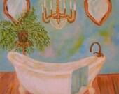 Original Acrylic Painting of Bathtub