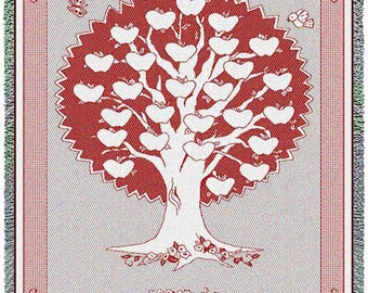 Family Tree Quilt - Monogram Family Tree Throw Cranberry Personalized