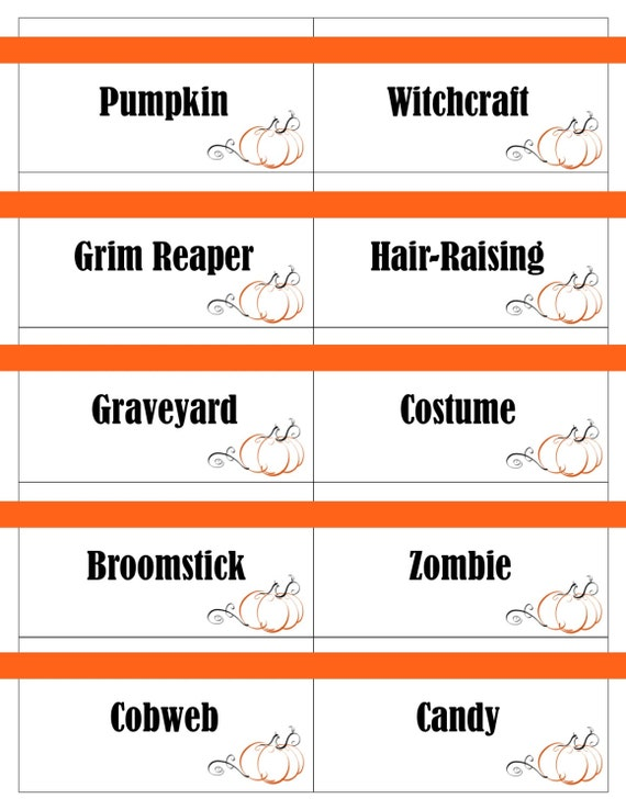 Printable Halloween Game Cards for Pictionary Charades