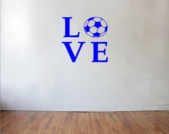 LOVE Soccer Sports Wall Decal - soccer decal, kids room decor, futbol decal, soccer wall decor