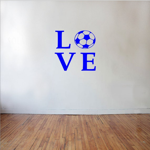 Love Soccer Sports Wall Decal Soccer Decal Kids Room Decor