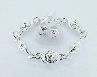 Silver Shell Bracelet - Sea Shell Bracelet - Fossil Bracelet - Ammonite - Chunky Silver Bracelet - Sterling Bracelet - Mary Colyer Jewellery