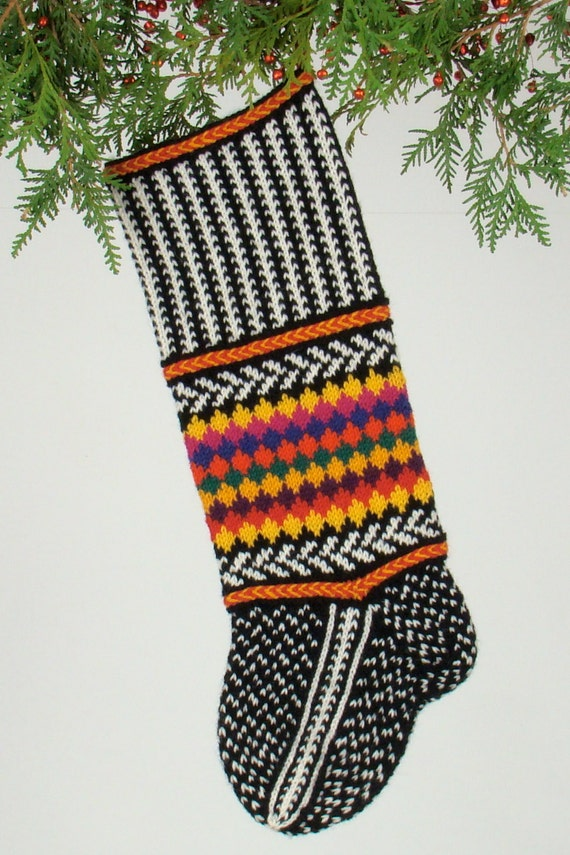 Hand-knit Christmas Stocking Jester