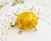 vintage turtle brooch tortoise pin orange enamel gold tone green rhinestones costume jewelry finds