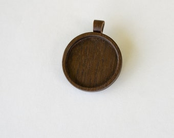 Pendant Setting - Pendant Blank - Handcrafted by ArtBASE - Walnut - 38 mm Cavity - (Z383-W) - Wooden Bail
