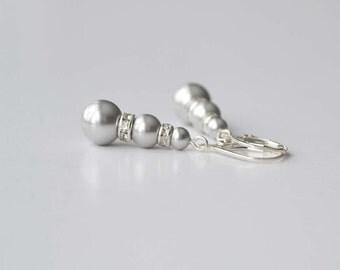 Gray Pearl Drop Earrings, Bridesmaid Jewelry, Pearl and Crystal Dangle Earrings, Bridesmaid Gift, Bridal Accessory, Grey Earrings, Swarovski