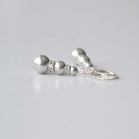 Grey Pearl Drop Earrings, Bridesmaid Jewelry, Pearl and Crystal Dangle Earrings, Bridesmaid Gift, Bridal Accessory, Gray Earrings, Swarovski