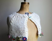 Holiday Sale. Cream knit capelet Felted flowers. Bridal Cape. handmade knitwear. Ready to ship. Gifts for her. Shawl. Wrap.