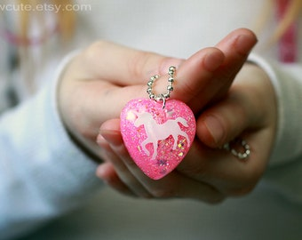 Unicorn Necklace Pink Glitter Pendant Necklace, sparkly heart-shaped girls necklace, Gift box & chain included by isewcute