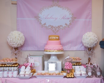 PINK and GOLD CHRISTENING Dedication Printable Party 46x33 Backdrop - Pink - You Print
