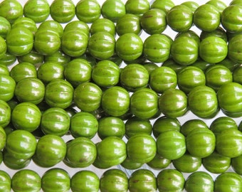 8mm Opaque Olive Gold Luster Czech Glass Melon Beads - Qty 25 (BS117)